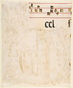 Decorated Initial with Scene of Christ Entering the Temple.