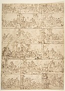 Eighteen Scenes of Courtship (recto), Study of Two Men Meeting Before a Portico