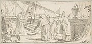 Illustration for a Book:  Bishops and Monks Being Received at a Ship by a Venerable Dignitary