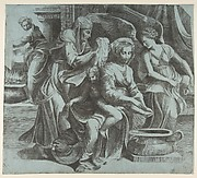 The Virgin washing the Christ Child accompanied by figures and an angel at right