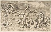 Man fighting a Sea Monster