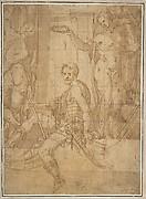 Seated Warrior Between Two Figures