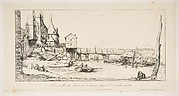 The footbridge temporarily replacing the Pont-au-Change, Paris, after the fire of 1621, after della Bella