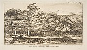 Native Barns and Huts at Akaroa, Banks Peninsula, 1845