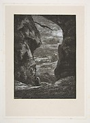 A peasant traversing a dark and rocky gorge in the moonlight, From Titres de Romance