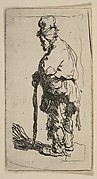 Beggar Leaning on a Stick Facing Left