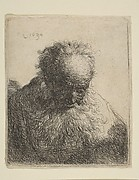 Bust of an Old Man with a Flowing Beard: the Head Bowed Forward: Left Shoulder Unshaded