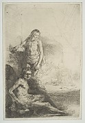 Nude Man Seated and Another Standing, with a Woman and a Baby Lightly Etched in Background