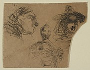 Two Female Heads and Standing Figure (from Sketches on the Coast Survey Plate)
