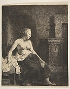Woman Sitting Half-Dressed beside a Stove