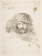 Head of a Man with a feathered Cap (Bernini?)