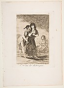 Plate 7 from 'Los Caprichos' : Even thus he cannot make her out (Ni asi la distingue.)