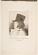 Plate 1 from 'Los Caprichos': Self-portrait of Goya (Franco. Goya e Lucientes, Pintor)