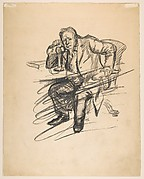 Seated Man on the Telephone (recto); Two Standing Men (verso)