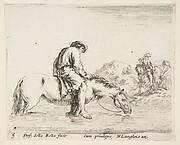 A Peasant on Horseback Crossing a River
