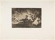 Plate 41 from 'The Disasters of War' (Los Desastres de La Guerra): 'They escape through the flames.' (Escapan entre las llamas)