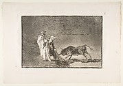Plate 6 from 'The Tauromaquia':The Moors make a different play in the ring calling the bull with their burnous.