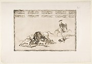 Plate 25 from the 'Tauromaquia':They Loose Dogs on the Bull.
