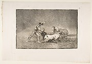 A Spanish knight kills the bull after having lost his horse, plate 9 of La Tauromaquia