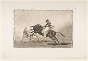 The same Ceballos mounted on another bull breaks short spears in the ring at Madrid, plate 24 of La Tauromaquia