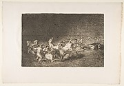 Plate 32 from the 'Tauromaquia':Two teams of picadors thrown one after the other by a single bull.