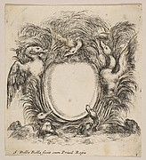 Cartouche Framed by Ducks and Weeds