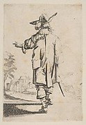 Gentleman Seen from the Back Pointing towards a Chateau