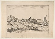 Fields with a Village Road with Post Mill, from the series The Small Landscapes (Multifariarum Casularum)
