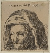 Rembrandt's Mother in a Cloth Headdress, Looking Down: Head Only (reverse copy)