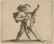 Le Comédien Masqué Jouant de la Guitare (The Masked Comedian Playing the Guitar), from Varie Figure Gobbi, suite appelée aussi Les Bossus, Les Pygmées, Les Nains Grotesques (Various Hunchbacked Figures, The Hunchbacks, The Pygmes, The Grotesque Dwarfs)