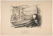 'Les Bulos Graves', Victor Hugo at his play 'Les Burgraves', from 'La Caricature'