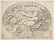 Eros Escaping by Sea; Cupid using his bow to propel a boat made from his quiver with an arrow as the mast and his blindfold as the sail, a banderole above