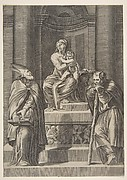 Saint Joseph at left and a bishop at right standing before the altar of the Virgin and Christ Child