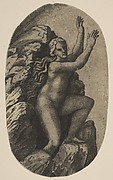 Eurydice naked standing on a rock, her arms raised to the right