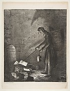 Masked Man using a Lantern to Collect Discarded Pamphlets by a Tombstone, published in Le Charivari