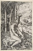 Venus removing a thorn from her left foot while seated on a cloth next to trees, a hare lower right