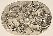A lion, dragon and fox fighting each other, an inscribed banderole above, an oval composition