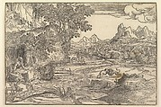 Landscape with Saint Jerome at left looking towards lion and bear (?) fighting at center; figure walking uphill at upper left; two figures with mule in the background