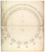 St. Peter's, drum, plan, at two levels (recto) compass (verso)