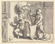 Two Nude Children Supporting a Blank Shield