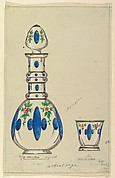 Design for a Glass Bottle and Tumbler with Painted Decorations