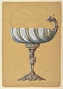 Design for Glass Renaissance Style Vessel with Metal Base