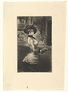 Three-quarter Length Woman in Profile at a Picture Gallery