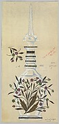 Design for Tall Bottle with Leaves and Jeweled Flowers
