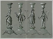 Design for Four Silver Candlesticks with Lady and Gentleman and Country Boy and Girl