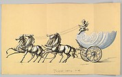 Design for an Ornamental Carriage with Silver Wheels, Drawn by Four Silver Horses and Driven by a Putto, the Body a Glass Shell