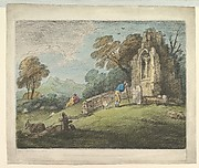 Wooded Landscape with Peasant Reading Tombstone, Rustic Lovers and Ruined Church