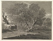 Wooded Landscape with Cows beside a Pool, Figures and Cottage