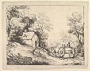 Wooded Landscape with Country Cart, Cottage and Figures