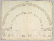 Cortile del Belvedere, Upper Courtyard, stair, plan (recto) blank (verso)